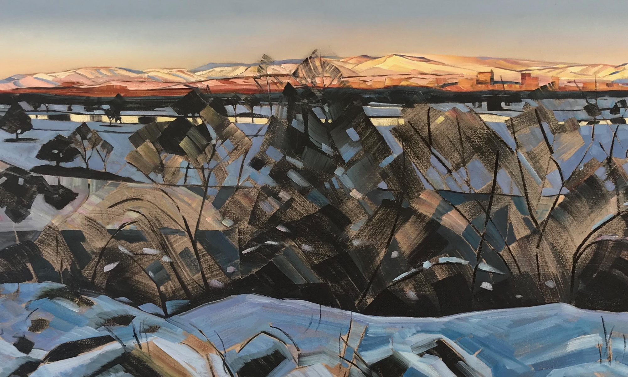 "Rachel Teannalach, Stark and Bright, Boise Foothills and Rivers on a Winter Evening, 24""x60"", Oil/wax/charcoal on linen"
