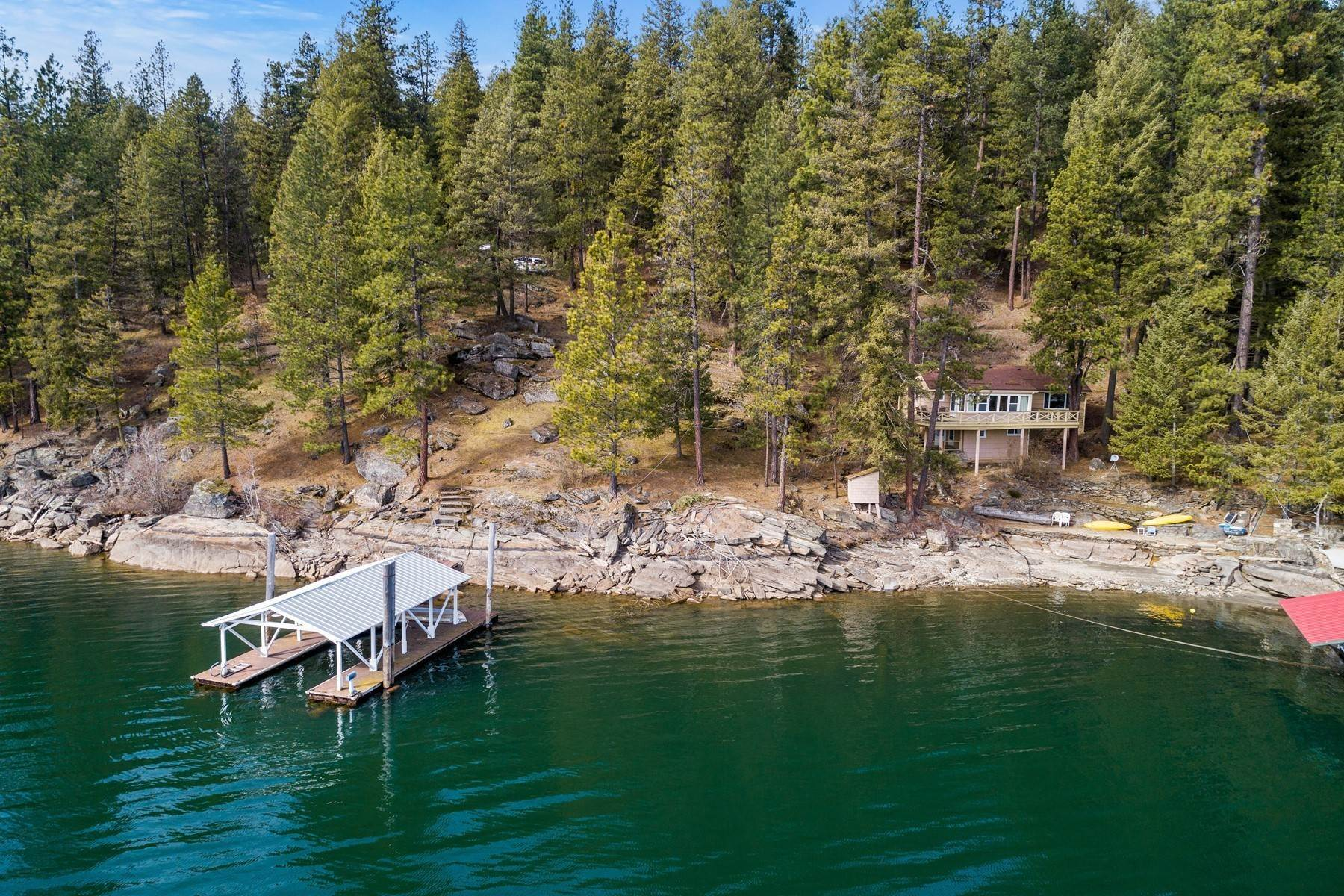 Single Family Homes for Sale at Mica Bay Cabin with 60ft Cd'A Lakefront 5486 Mica Shore Rd Coeur D Alene, Idaho 83864