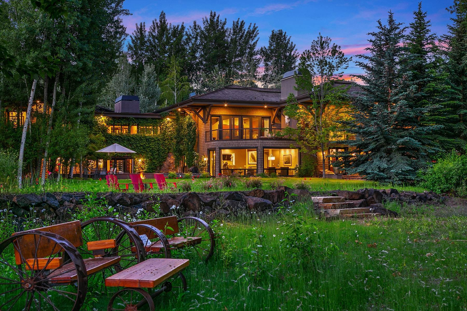 Single Family Homes for Sale at Riverfront Retreat Compound 221 & 225 Sutton Pl Ketchum, Idaho 83340